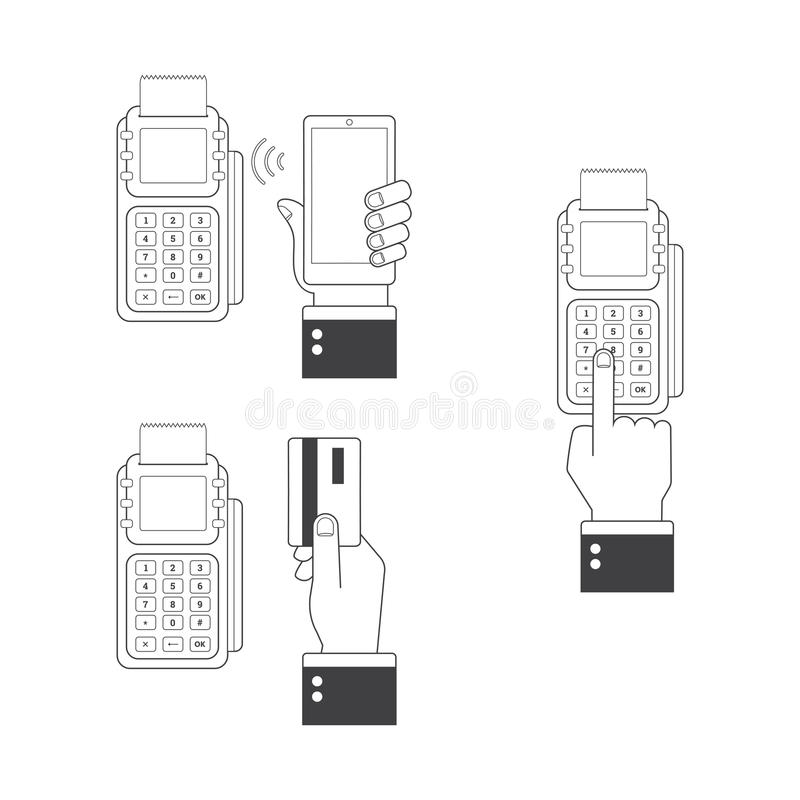 Sistema del icono del pago Manos humanas que sostienen las tarjetas de crédito, smartphone, pagando con la posición Línea estilo  stock de ilustración