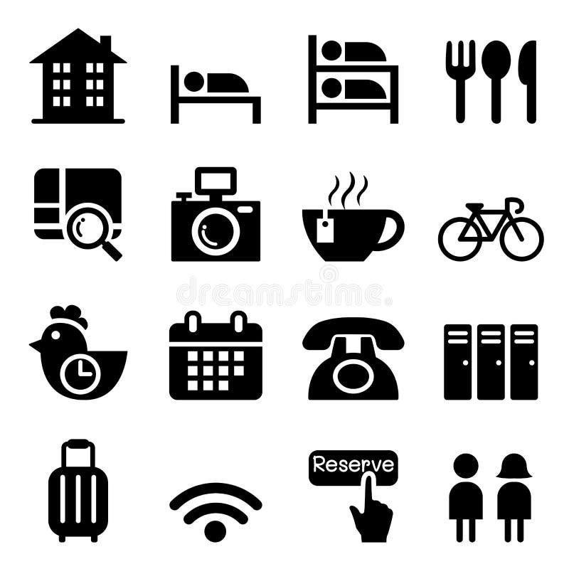 Sistema del icono del parador y del hotel stock de ilustración
