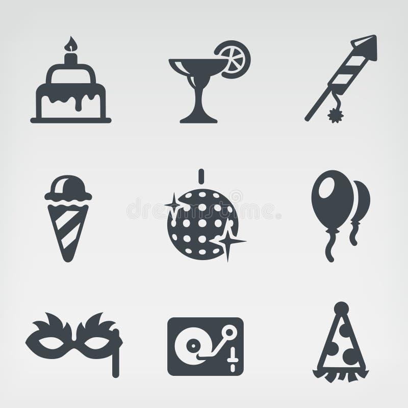 Sistema del icono del partido stock de ilustración