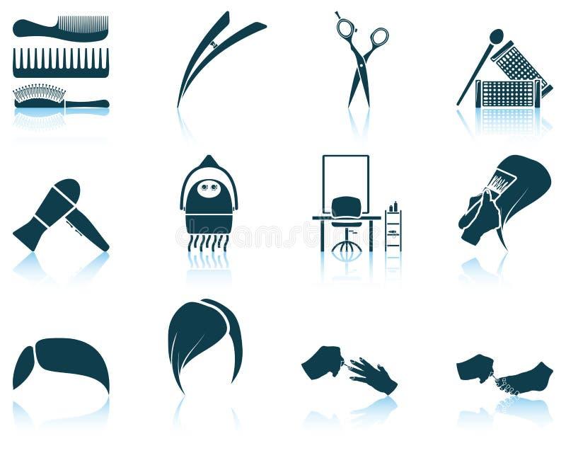 Sistema del icono del peluquero ilustración del vector