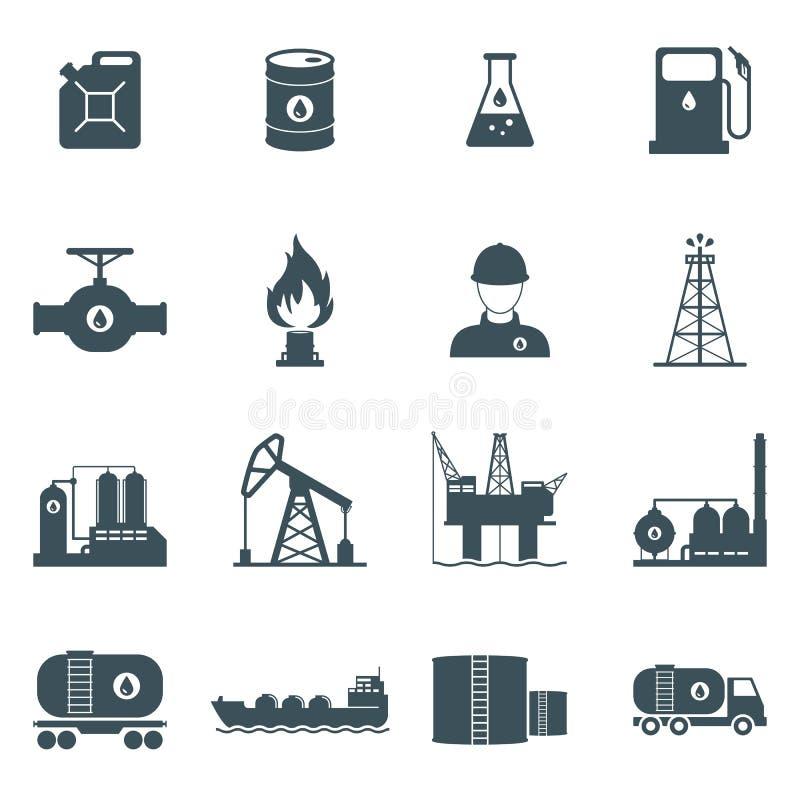 Sistema del icono del petróleo y gas stock de ilustración