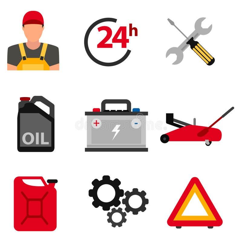 Sistema del icono del plano de servicio del coche Iconos del plano de servicio del mecánico de automóviles de la reparación y del libre illustration
