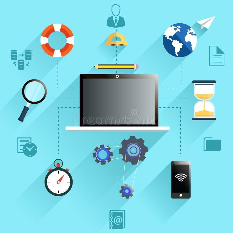 Sistema del icono del proceso del trabajo de la gestión libre illustration