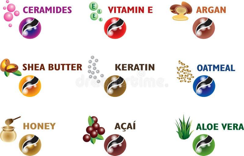 Sistema del icono del producto de pelo del tratamiento libre illustration