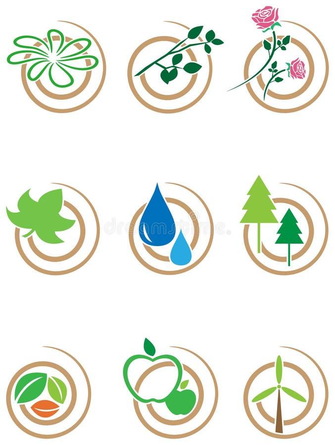 Sistema del icono del remolino de la naturaleza stock de ilustración