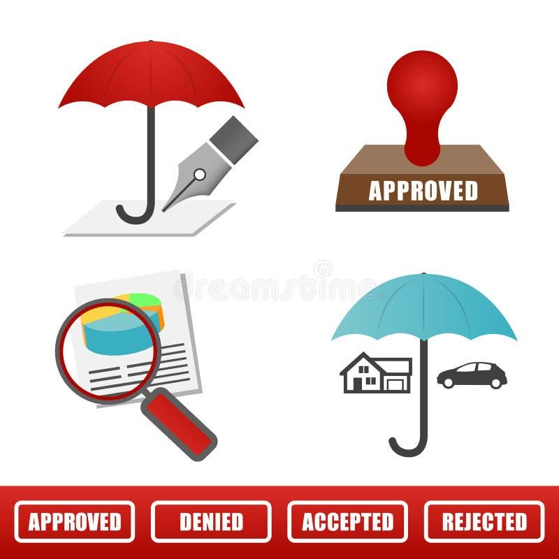 Sistema del icono del seguro casero y auto stock de ilustración