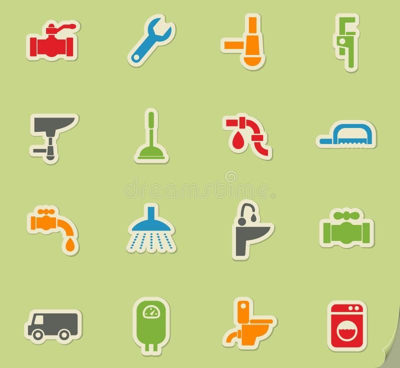 Sistema del icono del servicio de la fontanería stock de ilustración
