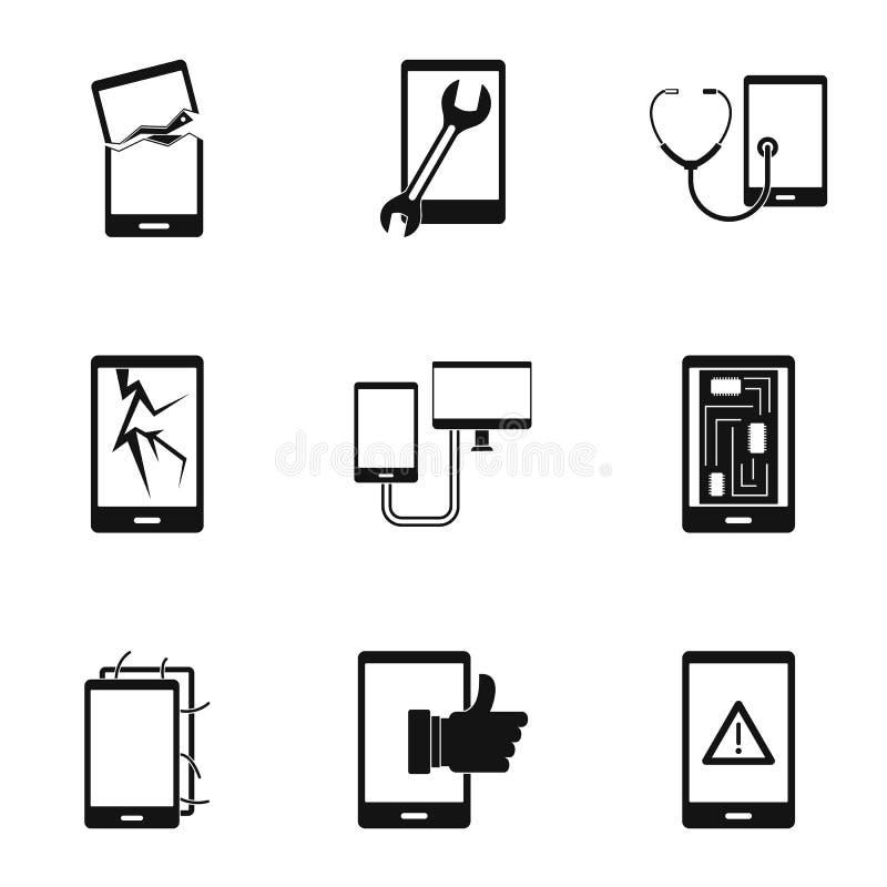 Sistema del icono del servicio de los smartphones, estilo simple stock de ilustración