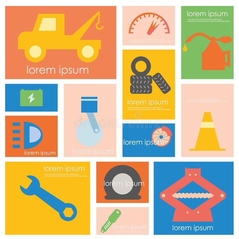 Sistema del icono del servicio del coche ilustración del vector