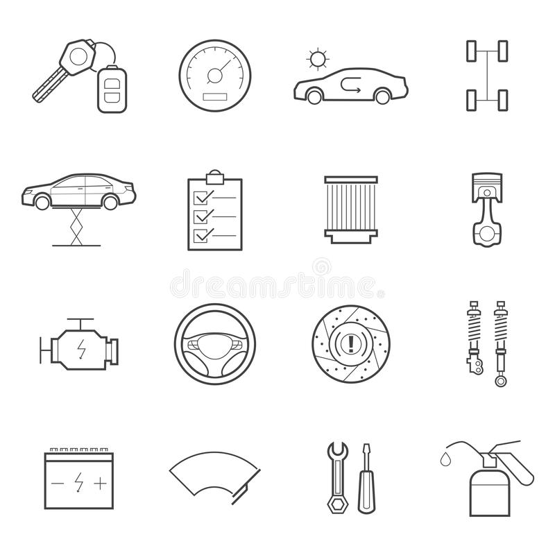 Sistema del icono del servicio del coche stock de ilustración