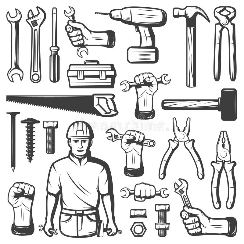 Sistema del icono del taller de la reparación del vintage ilustración del vector