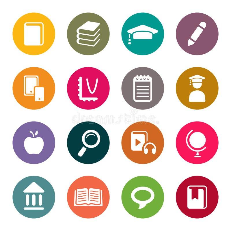 Sistema del icono del tema de la educación
