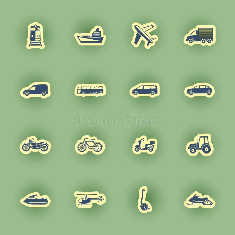 Sistema del icono del transporte aislado en verde libre illustration
