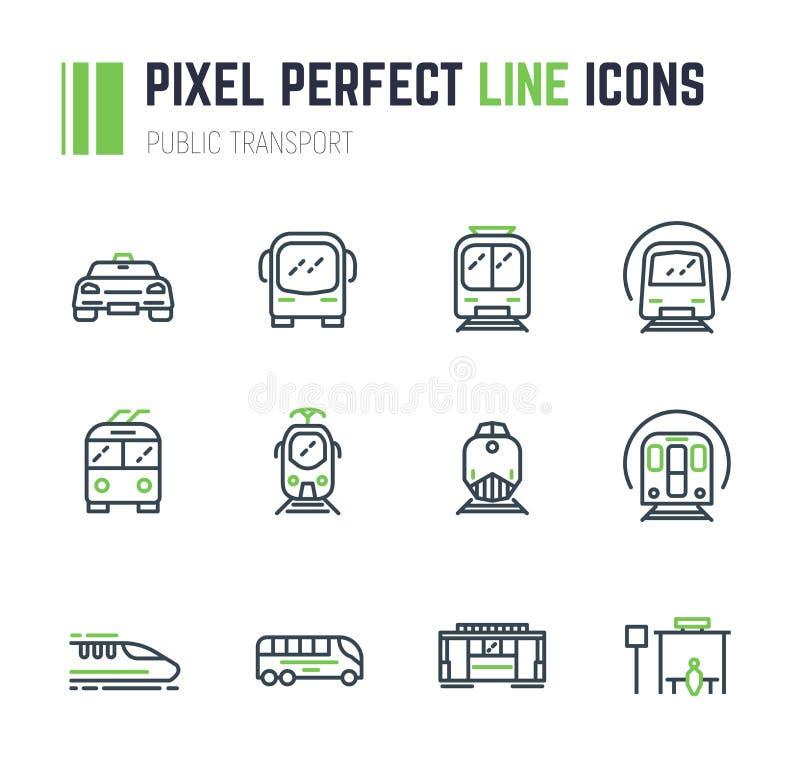Sistema del icono del transporte público 12 stock de ilustración