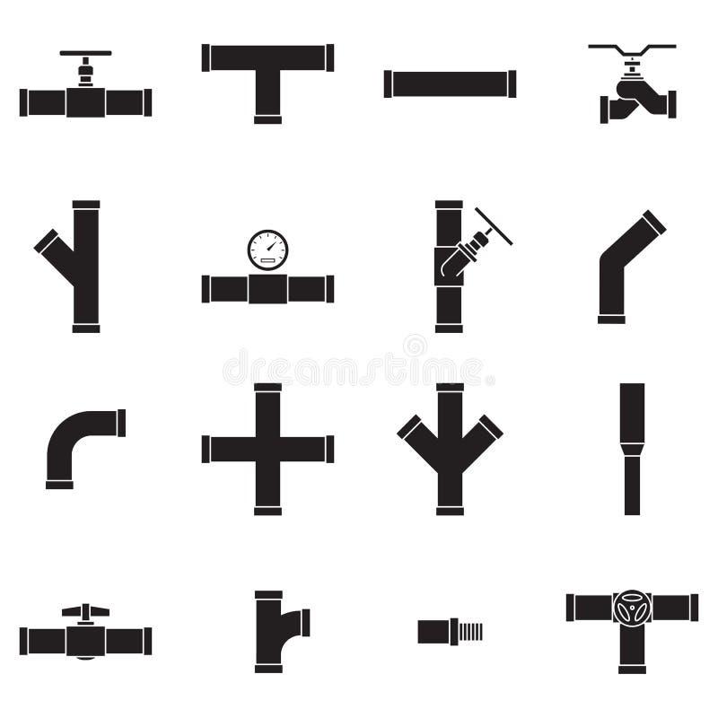 Sistema del icono del tubo y de la válvula libre illustration