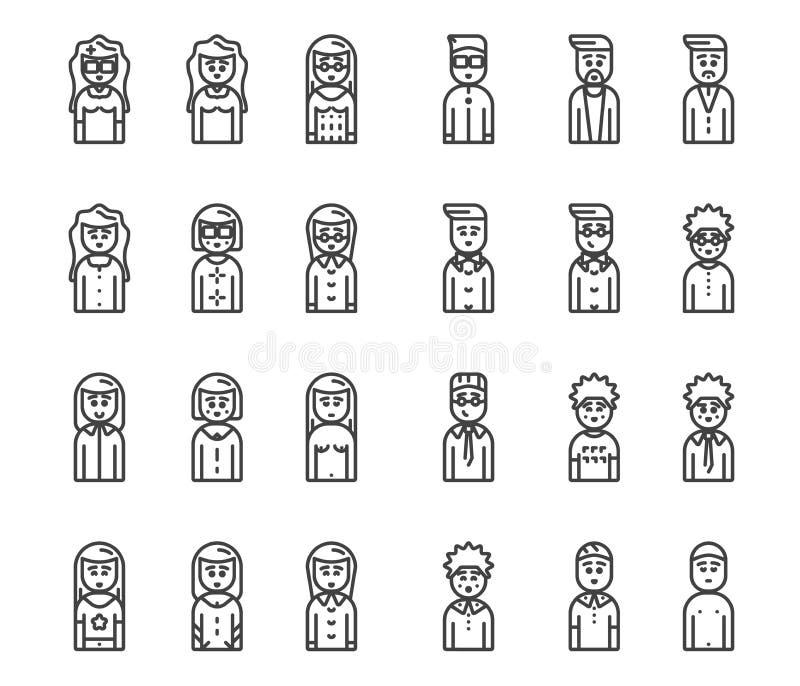Sistema del icono del vector de los avatares de los hombres y de las mujeres imágenes de archivo libres de regalías
