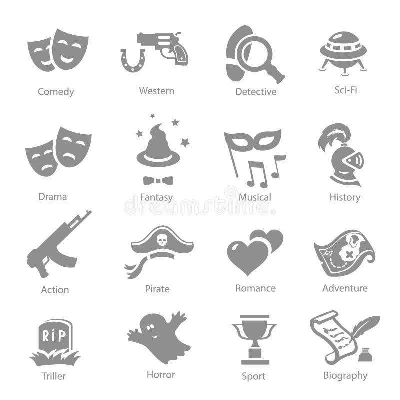 Sistema del icono del vector de los géneros de la película ilustración del vector