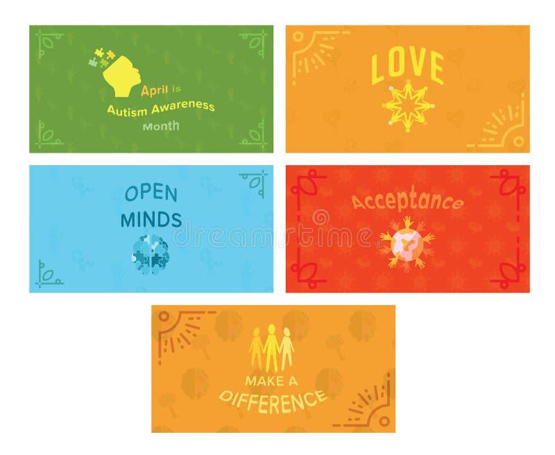Sistema del icono del vector de tarjetas de felicitación con el mensaje de la conciencia del autismo stock de ilustración