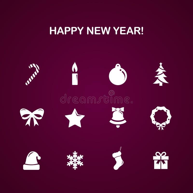 Sistema del icono del vector del Año Nuevo de la Navidad ilustración del vector