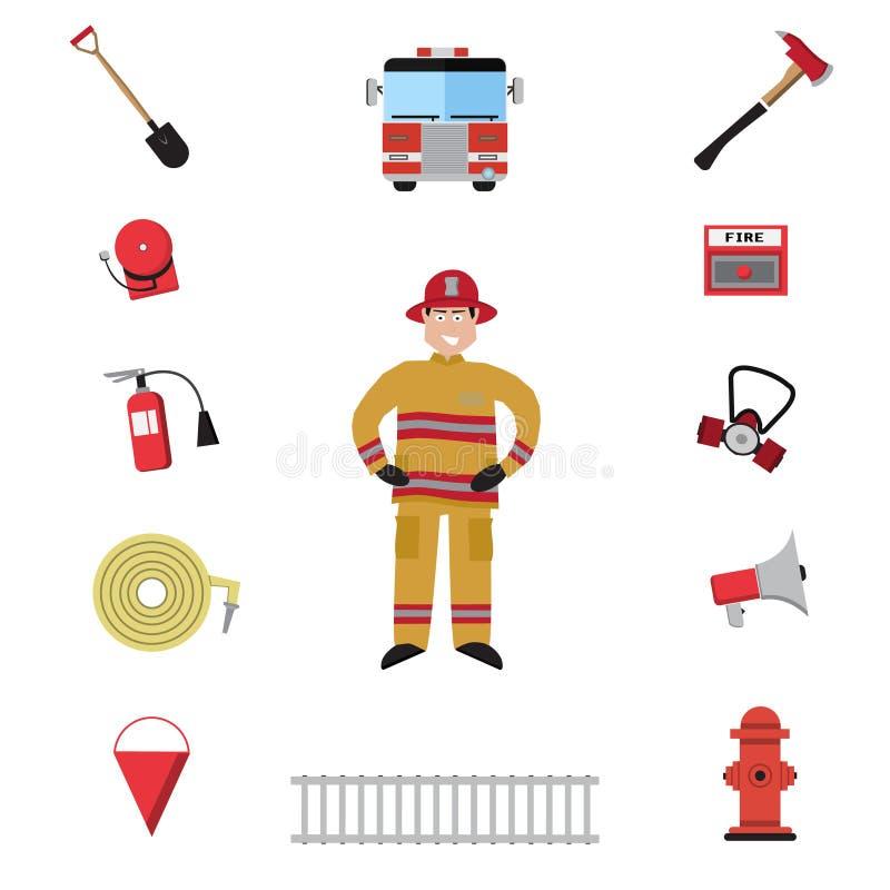 Sistema del icono del vector del bombero ilustración del vector