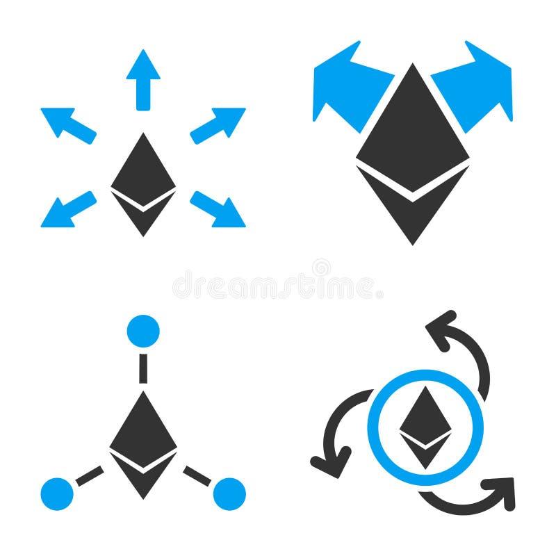 Sistema del icono del vector del desembolso de Ethereum ilustración del vector