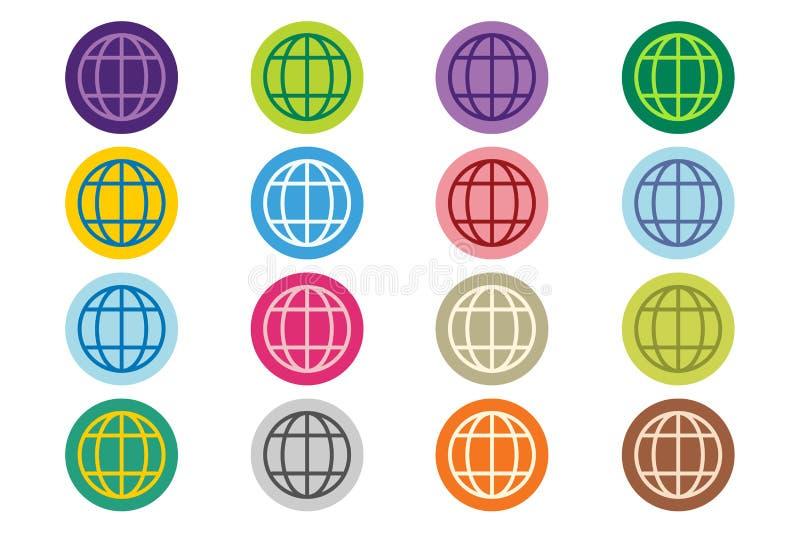 Sistema del icono del vector del logotipo de la tierra del globo stock de ilustración