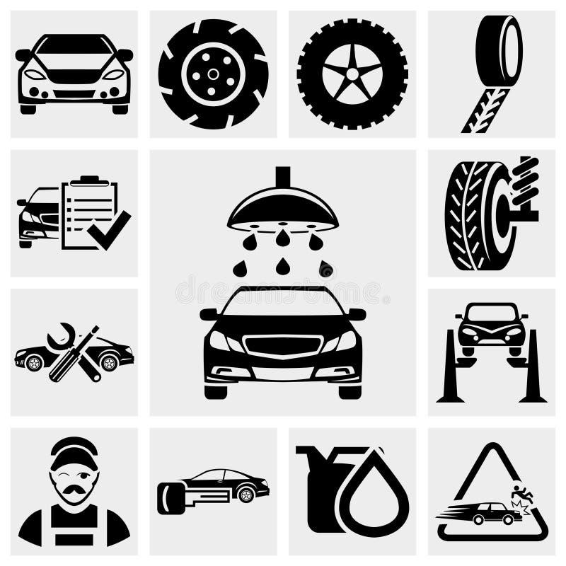 Sistema del icono del vector del servicio del coche. stock de ilustración
