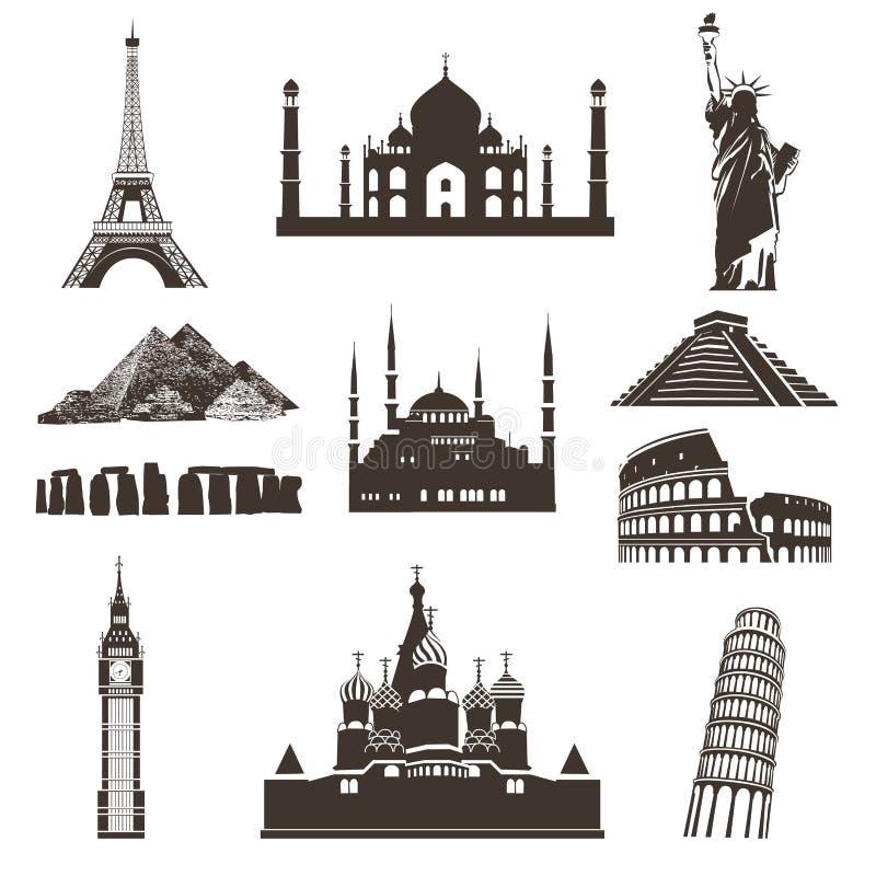 Sistema del icono del viaje, siluetas del vector ilustración del vector