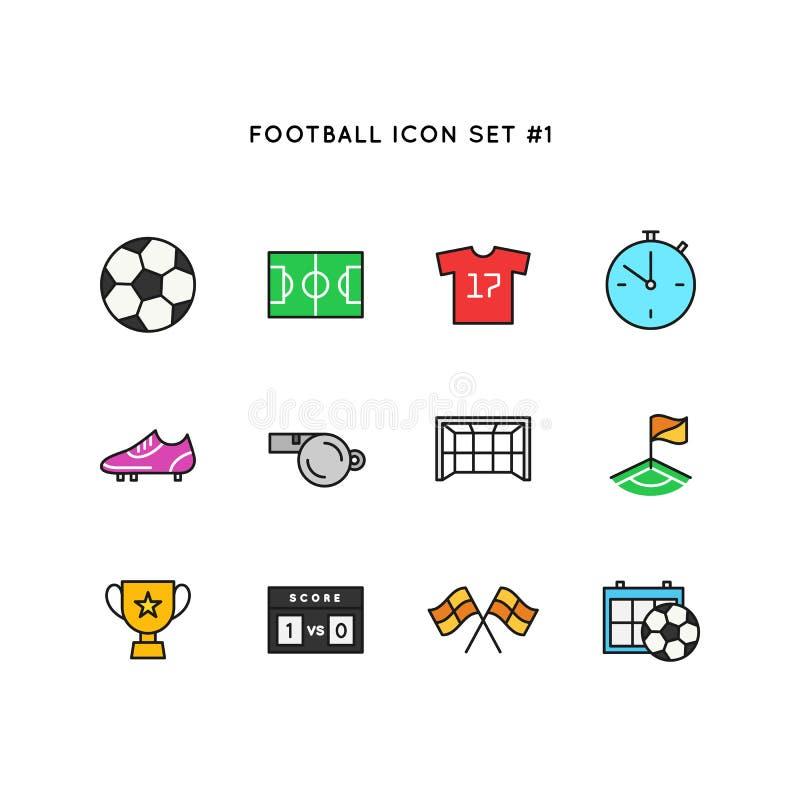 Sistema del icono del deporte del fútbol Ejemplo del objeto del fútbol Línea limpia simple símbolo coloreado stock de ilustración