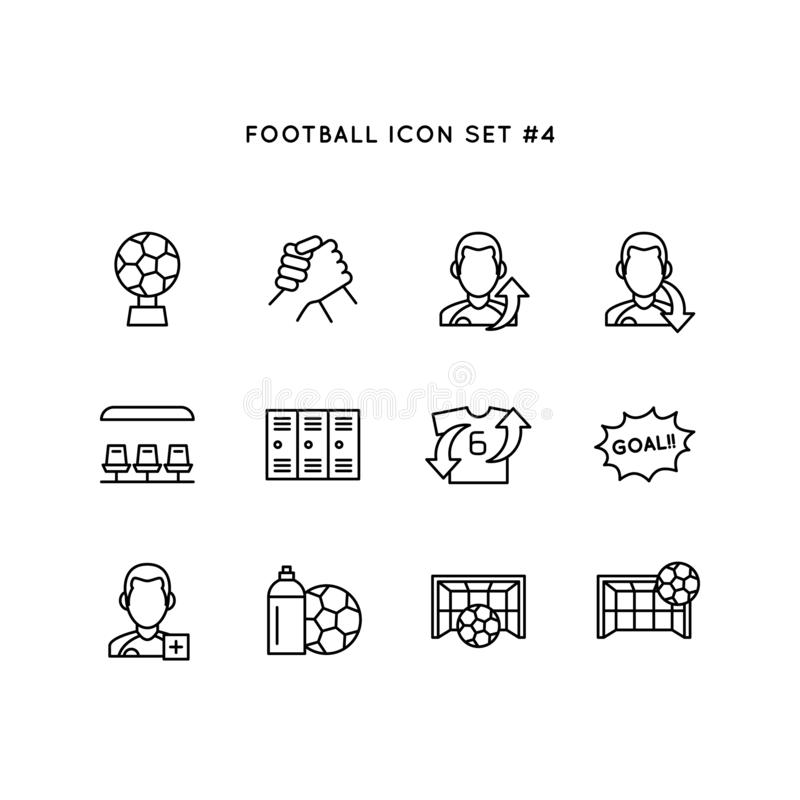 Sistema del icono del deporte del fútbol Ejemplo del objeto del fútbol símbolo limpio simple del monoline ilustración del vector