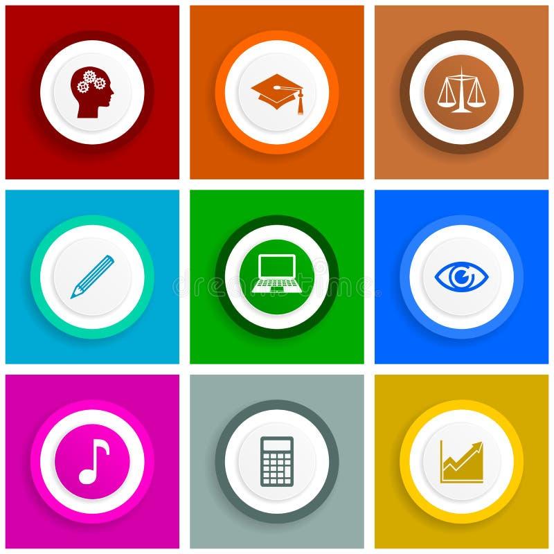 Sistema del icono del diseño, ejemplos de Internet, educación, escuela, ciencia, graduación, academia, justicia, ordenador y n libre illustration