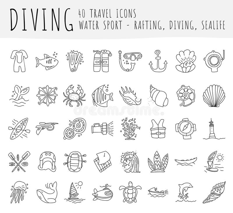 Sistema del icono del drenaje de la mano del vector del salto Equipo de buceo, sealife, cualidades del mar en una colección aline stock de ilustración