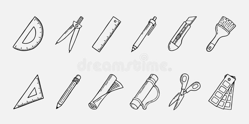 Sistema del icono del ejemplo de las herramientas de la arquitectura stock de ilustración