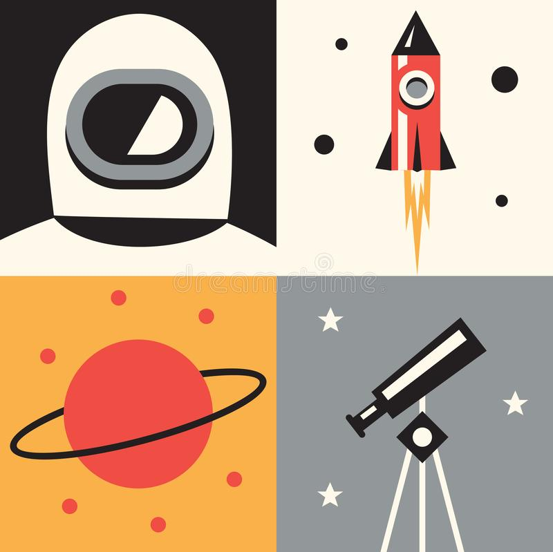 Sistema del icono del ejemplo del vector de espacio: astronauta, cohete, planeta, telescopio stock de ilustración