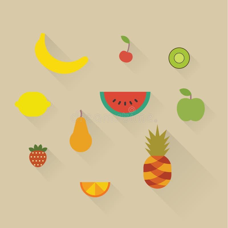 Sistema del icono del ejemplo del vector de frutas: plátano, cereza, kiwi, limón, sandía, manzana, pera, fresa, naranja y piña stock de ilustración