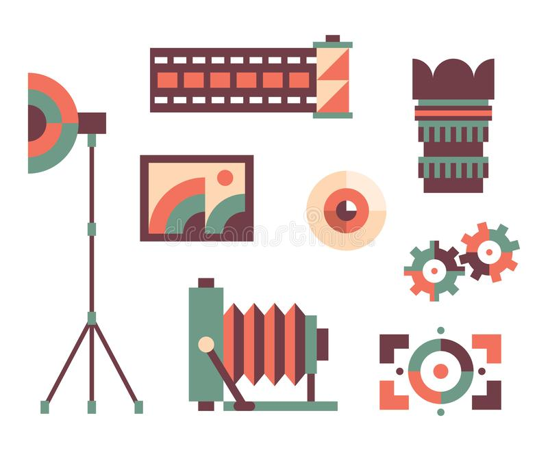 Sistema del icono del ejemplo del vector de la foto: cámara, lente, ojo, foco, película, paraguas libre illustration