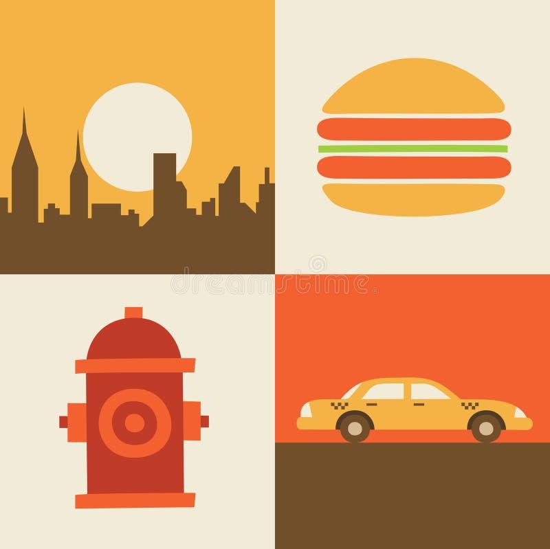 Sistema del icono del ejemplo del vector de los E.E.U.U., Nueva York, hamburguesa, coche ilustración del vector