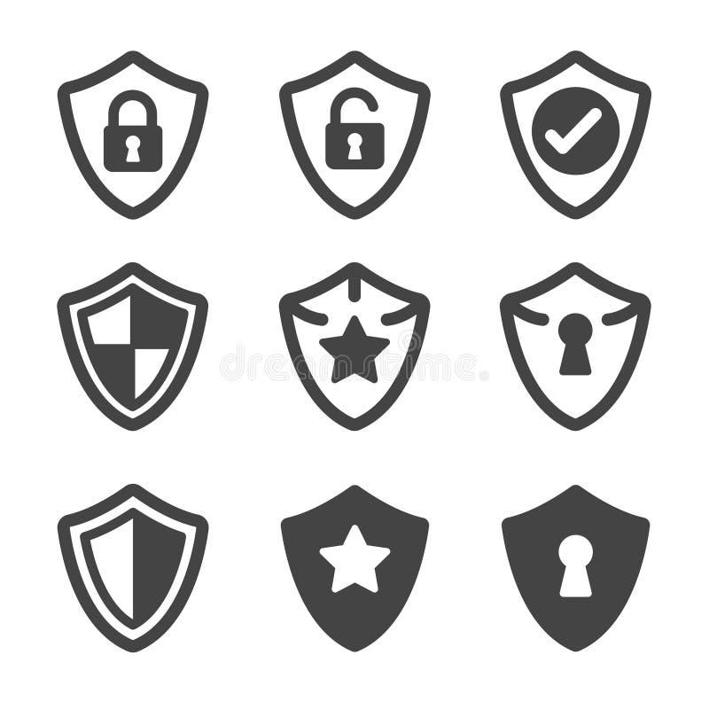 Sistema del icono del escudo stock de ilustración