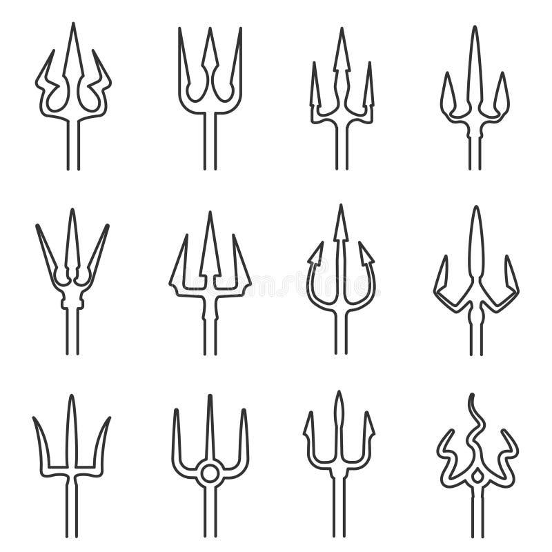 Sistema del icono del esquema de Trident stock de ilustración