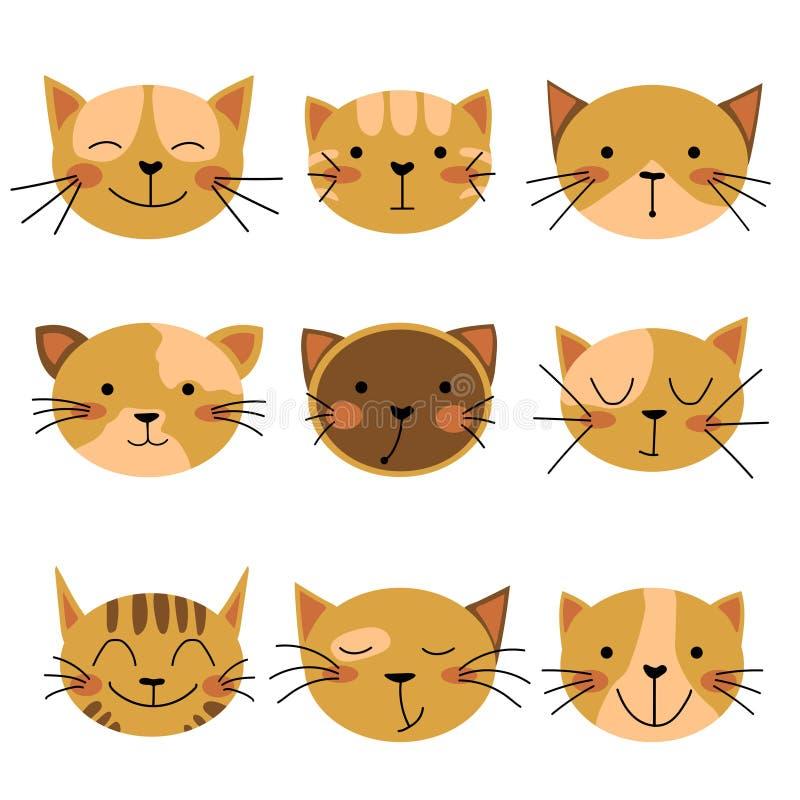Sistema del icono del gato Gato sonriente, gato feliz, gato serio, gato triste, gato infeliz libre illustration