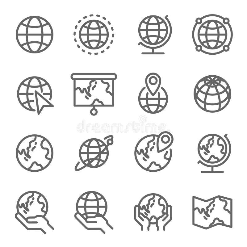 Sistema del icono del globo Contiene los iconos tales como el mapa del mundo, Pin, tierra y más Movimiento ampliado stock de ilustración