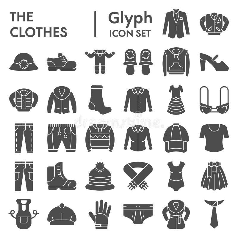Sistema del icono del glyph de la ropa, símbolos colección, bosquejos del vector, ejemplos del logotipo, pictogramas sólidos de l libre illustration