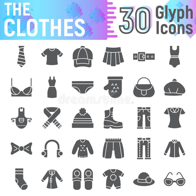 Sistema del icono del glyph de la ropa, símbolos colección, bosquejos del vector, ejemplos del logotipo, pictogramas sólidos del  libre illustration