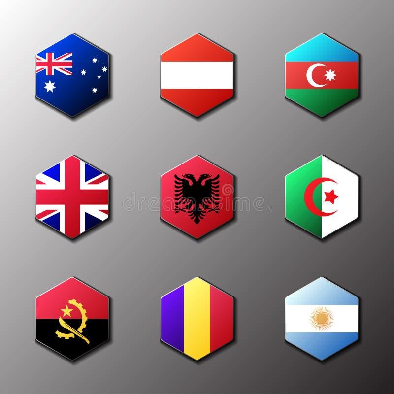 Sistema del icono del hexágono Banderas del mundo con el colorante oficial del RGB y emblemas detallados ilustración del vector