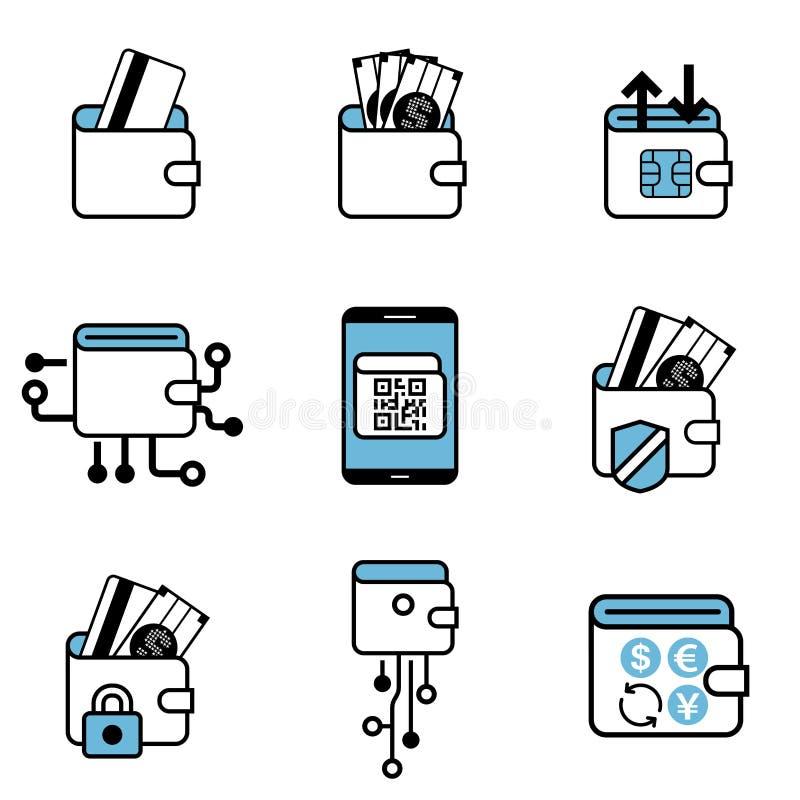 Sistema del icono del intercambio del pago de la cartera de Digitaces stock de ilustración
