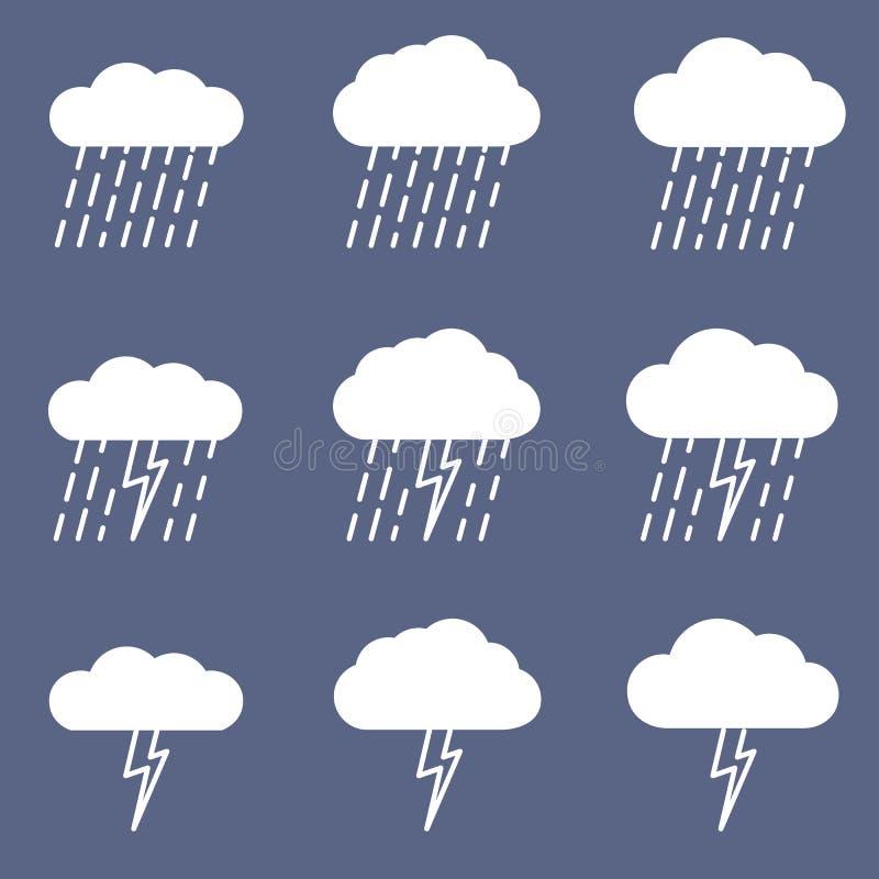 Sistema del icono lluvioso para el proyecto del tiempo o del clima libre illustration