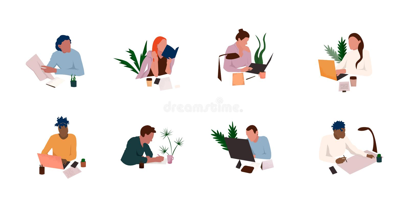 Sistema del icono del lugar de trabajo de la oficina libre illustration