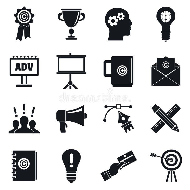 Sistema del icono del marketing de marca, estilo simple stock de ilustración
