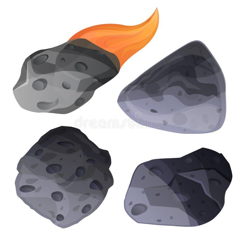 Sistema del icono del meteorito, estilo de la historieta ilustración del vector