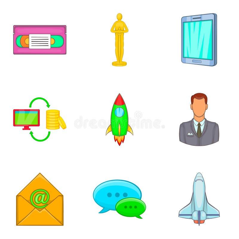 Sistema del icono del negocio que entrena, estilo de la historieta ilustración del vector